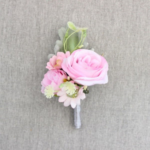 Rose Corsage/Buttonhole With Tiny Flowers and Leafs. Available in 5 Colourspink-weddingniknaks