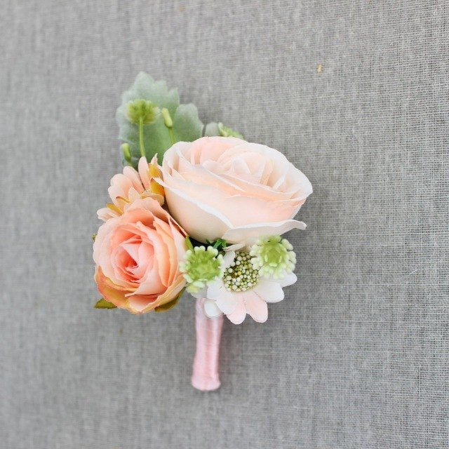 Rose Corsage/Buttonhole With Tiny Flowers and Leafs. Available in 5 Colours - weddingniknaks