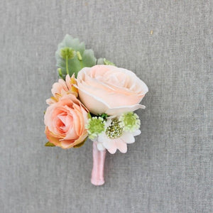Rose Corsage/Buttonhole With Tiny Flowers and Leafs. Available in 5 Colourschampagne-weddingniknaks