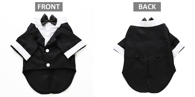 Dog Wedding Suit, Striped Tuxedo and Bow Tie Available In 4 Sizes and 5 Colour OptionsB / XL-weddingniknaks