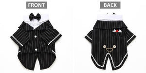Dog Wedding Suit, Striped Tuxedo and Bow Tie Available In 4 Sizes and 5 Colour OptionsD / XL-weddingniknaks