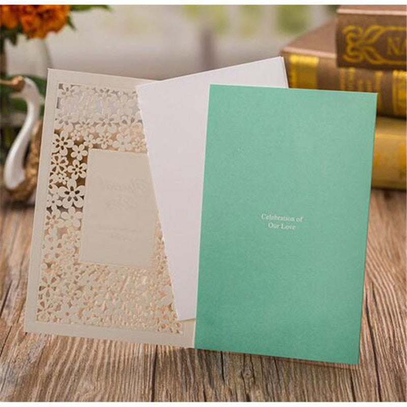 50 Laser Cut Wedding Invitations, with Plain insert, Envelope and Envelope Seal - weddingniknaks
