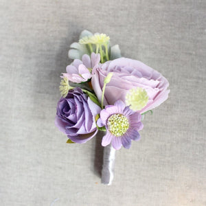 Rose Corsage/Buttonhole With Tiny Flowers and Leafs. Available in 5 Colours-weddingniknaks
