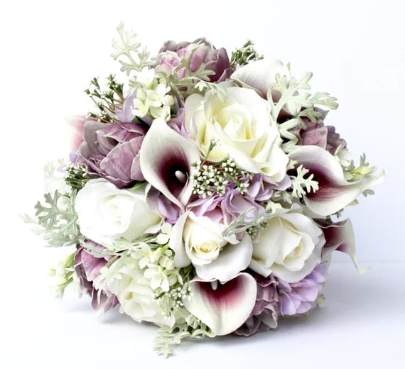 Peony Bridal Bouquet In Shades Of Purple.-weddingniknaks