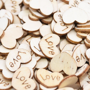 100 Mini Wooden Love Heart Wedding Table Scatters. Available Engraved or Plain. - weddingniknaks