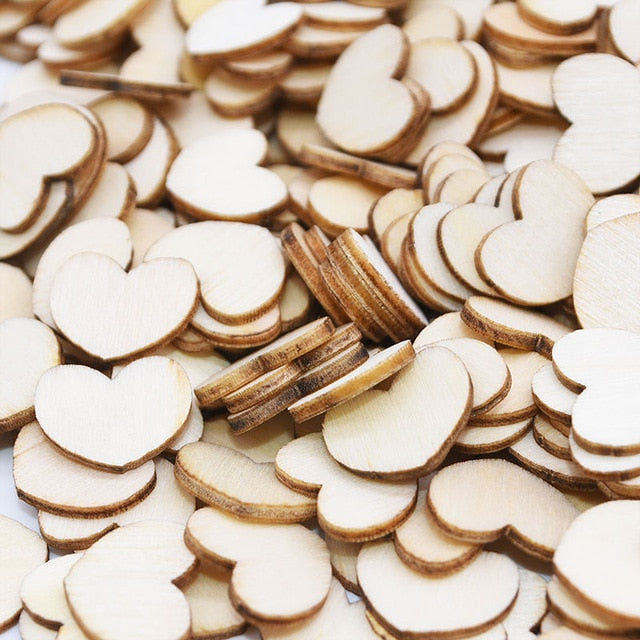 100 Mini Wooden Love Heart Wedding Table Scatters. Available Engraved or Plain.-weddingniknaks