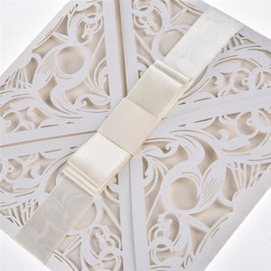 10 Square White Invites With Bowknot, Available With Or Without Insert And Envelope.-weddingniknaks