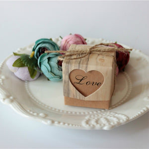 40 Vintage Heart Candy and Gift Boxes with Twine and 'Love' wording - weddingniknaks