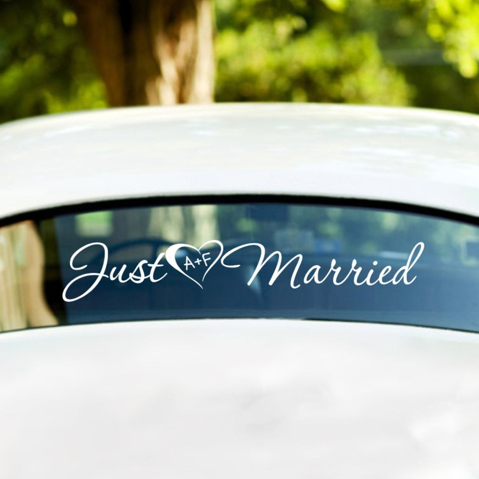Just Married Vinyl Stickers with personal initials inside the heart shape. Available in 20 colours - weddingniknaks