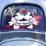 Mickey and Minnie Mouse 'Just Married' Vinyl Stickers, 16 Colours Available and 2 Sizes - weddingniknaks