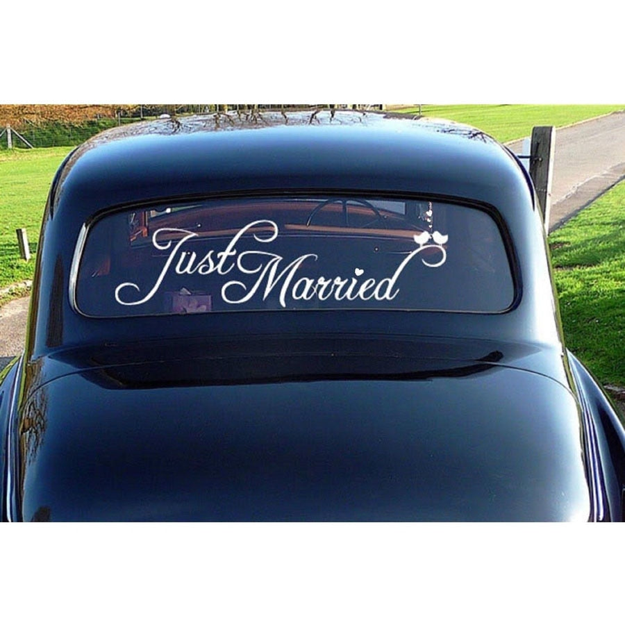 'Just Married' Wedding Sticker available in 21 different colours-weddingniknaks
