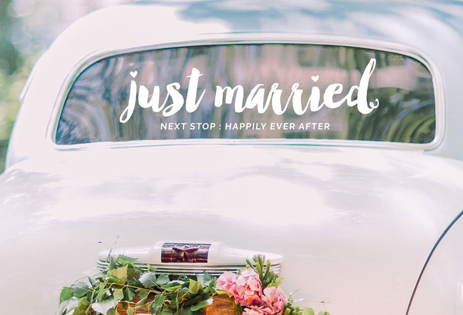 'Just Married' 'Next Stop:Happily Ever After' Vinyl Removable Stickers Available in 21 Colours-weddingniknaks