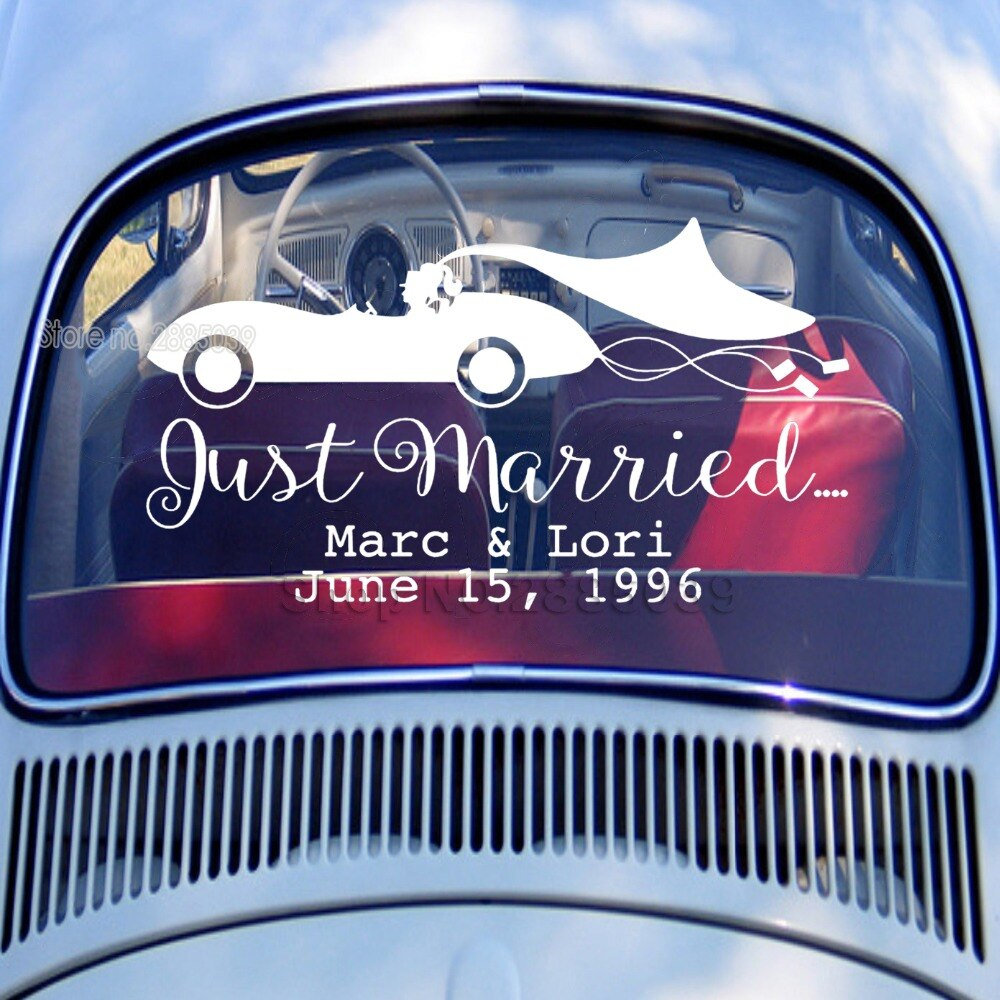 "Personalised 'Just Married"" Car Window Vinyl Stickers. Available in 3 Sizes and 14 Colours. - weddingniknaks"
