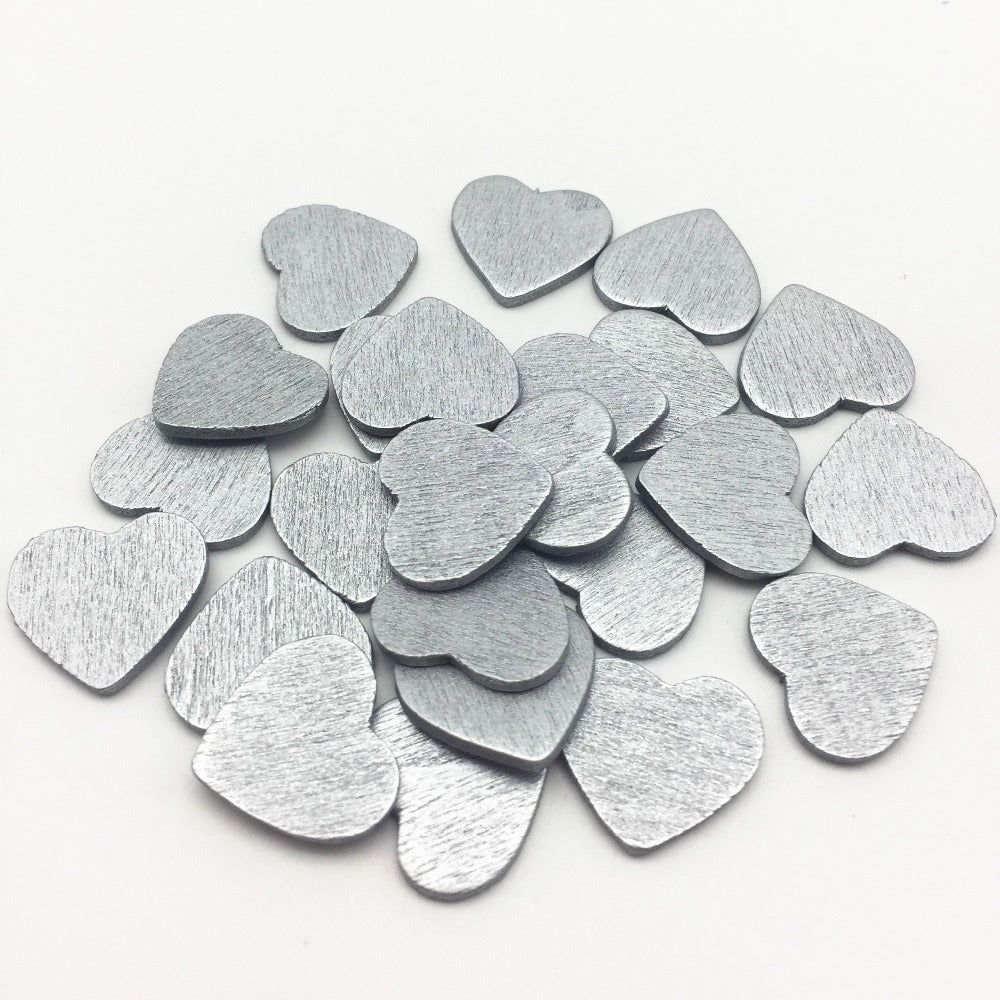 100 x 18mm Silver, Gold, Cooper Coloured Wood Heart Table Scatter Decorations - weddingniknaks