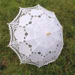 White Cotton Lace Parasol/Bridal Umbrella With Wooden Handle And Caps - weddingniknaks