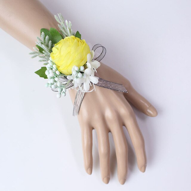 Wedding Party Corsages, Wrist Flowers and Buttonholes in 14 different Styleswrist corsage-E-weddingniknaks