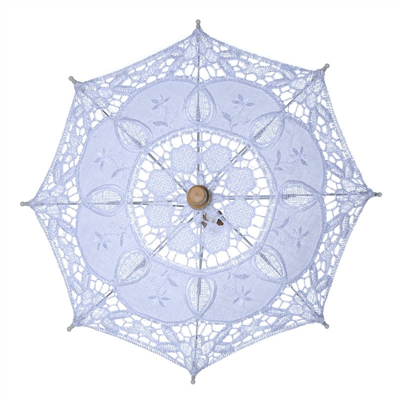 Cotton Lace Parasol/Bridal Umbrella. Available in White/Ivory Beige - weddingniknaks