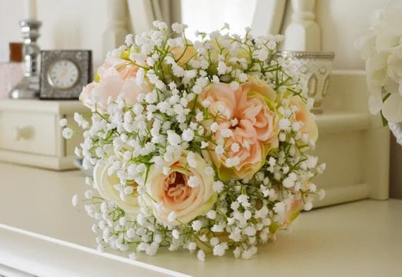 Pink Flowered Bouquet With Baby's Breath.-weddingniknaks