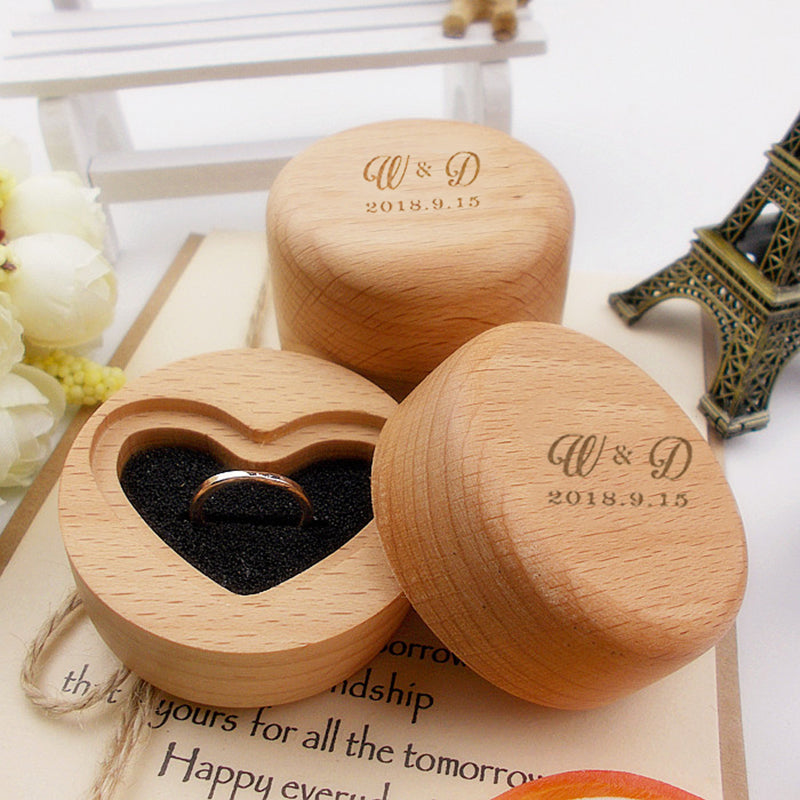 Customised Wooden Wedding Ring Box with initials and date on the top.-weddingniknaks