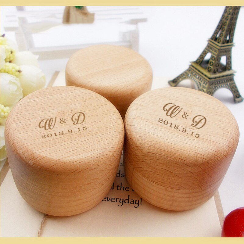 Customised Wooden Wedding Ring Box with initials and date on the top. - weddingniknaks