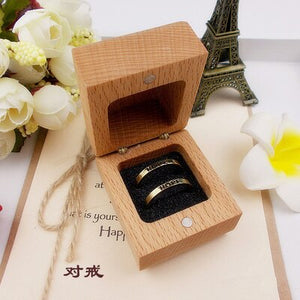 Customised Square Wedding Ring Box with initials and date on top of the lid. Available for single or double ring. - weddingniknaks