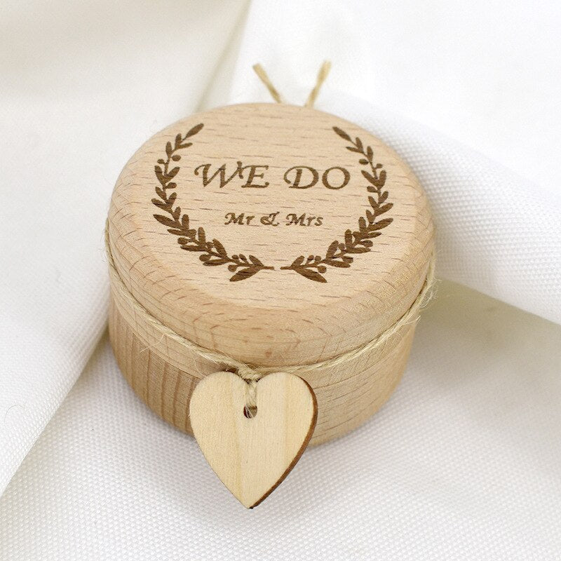Wooden Wedding Ring Box, with Twine and heart decoration. - weddingniknaks
