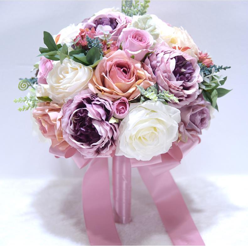 Country style silk ribbon bouquet, available in pinks or purples - weddingniknaks