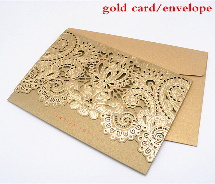 10 Laser Cut Wedding Invitations in Gold and Red-weddingniknaks