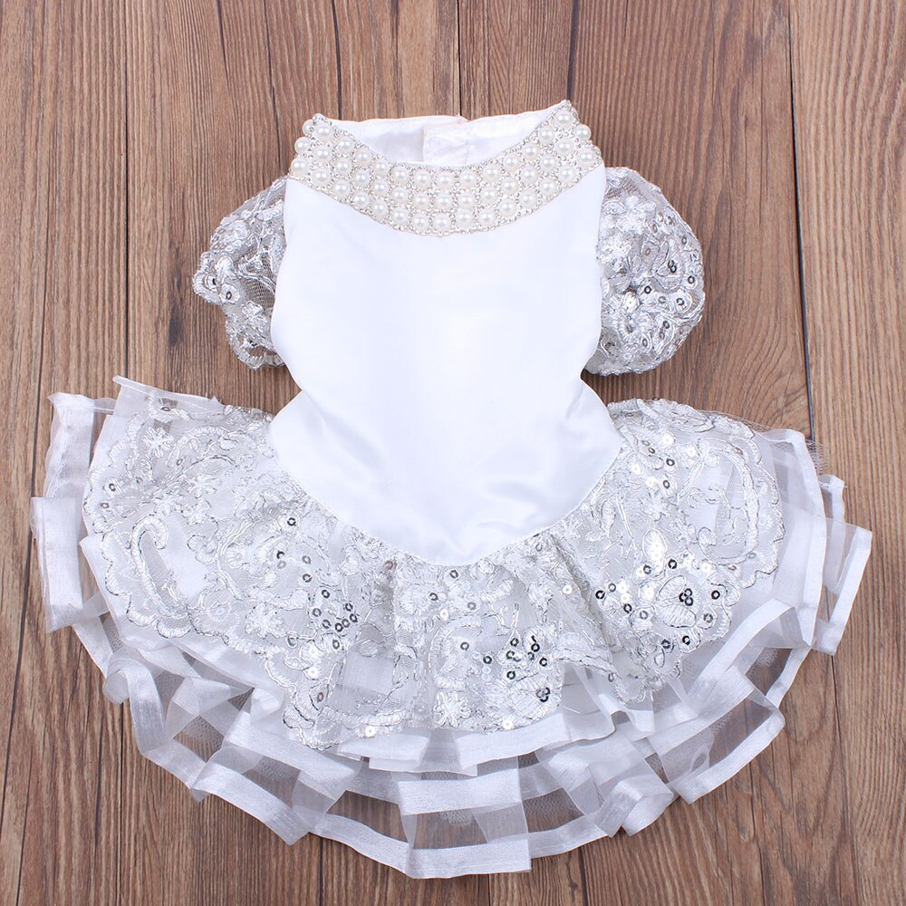 Pet Wedding Dress Tutu With Lace And Pearls, For Cat Or Dog, 5 Sizes Available-weddingniknaks
