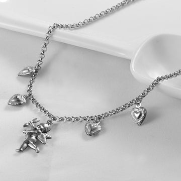 Love angel pendant silver necklace
