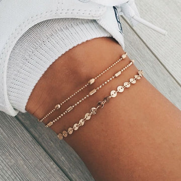 Three layer treasure anklet