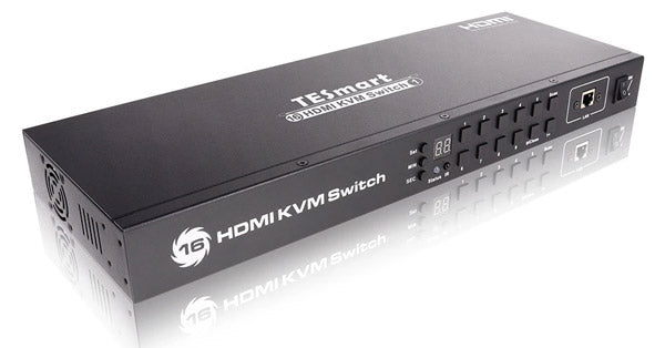 TESMART 16-PORT HDMI KVM SWITCH - AUTOSCAN, RACKMOUNT, ETHERNET, USB HUB, 4K 30HZ