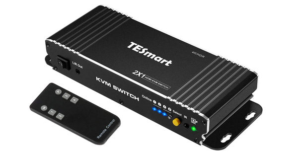 TESMART 2-PORT HDMI 2.0 KVM SWITCH 4K@60HZ MOUNTABLE WITH USB PORT FOR WINDOWS AND MAC OSX