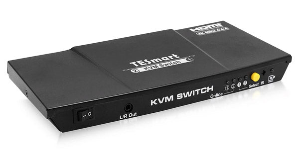 TESMART 2-PORT HDMI 2.0 KVM VIDEO SWITCH - 4K 60HZ UHD - AUDIO OUTPUT, USB SHARING