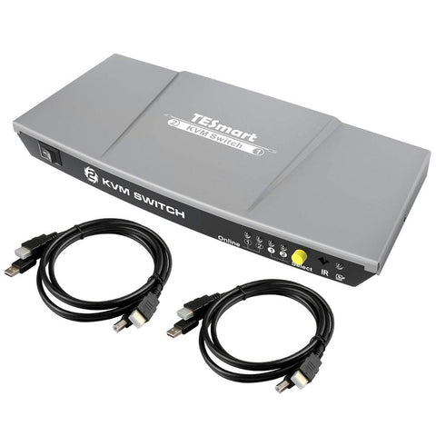 TESmart 2-Port HDMI 1.4 Ultra HD 4K 30Hz HDMI KVM Switch USB 2.0