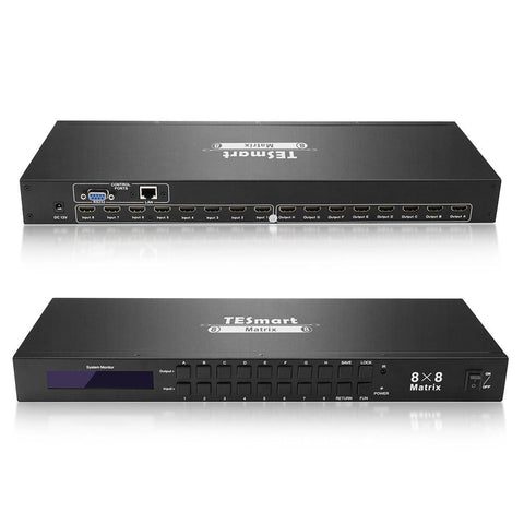 HDMI Matrix Video Switcher - 8x8 - 4K HDMI 1.4 - Control Switcher with Remote - IP - Ethernet Port - RS232 - Rack Mount
