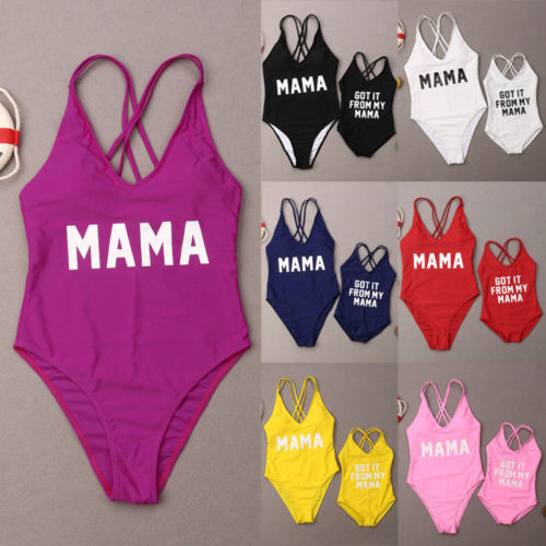 a46d00b7c4 Load image into Gallery viewer, 7 color Mother Daughter Swimsuit Family  Matching Beachwear Swim Costume ...