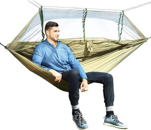 Lukowulf's Camping Haven 1-2 Person Outdoor Mosquito Net Parachute Hammock Camping Hanging Sleeping Bed Swing Portable  Double  Chair Hamac Army Green