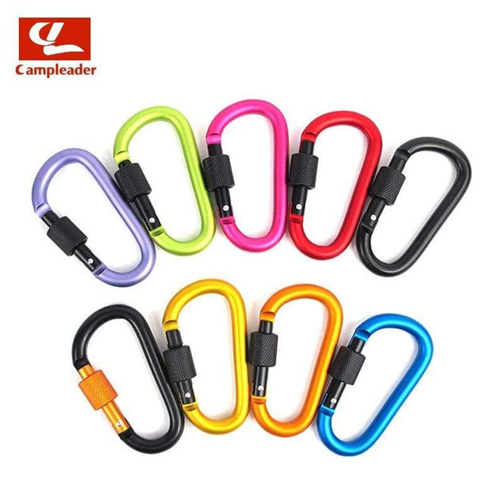 Lukowulf's Camping Haven 8cm Aluminum Alloy Spring Carabiner D-Ring Key Chain Clip Multi-color Camping Keyring Snap Hook Outdoor Travel Kit Quickdraws