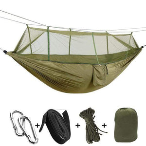 Lukowulf's Camping Haven army green / China 1-2 Person Outdoor Mosquito Net Parachute Hammock Camping Hanging Sleeping Bed Swing Portable  Double  Chair Hamac Army Green
