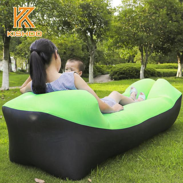 Lukowulf's Camping Haven black and fruitgreen 2019 Trend Outdoor Products Fast Infaltable Air Sofa Bed Good Quality Sleeping Bag Inflatable Air Bag Lazy bag Beach Sofa Laybag