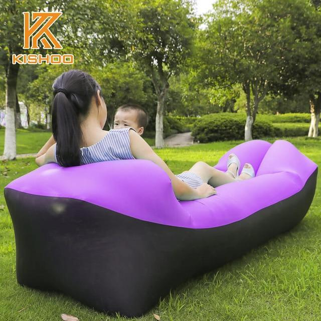 Lukowulf's Camping Haven black and purple 2019 Trend Outdoor Products Fast Infaltable Air Sofa Bed Good Quality Sleeping Bag Inflatable Air Bag Lazy bag Beach Sofa Laybag
