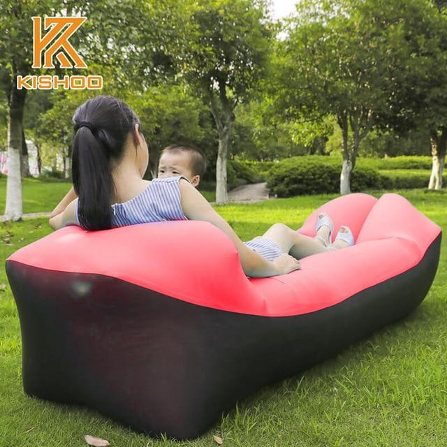 Lukowulf's Camping Haven black and red 2019 Trend Outdoor Products Fast Infaltable Air Sofa Bed Good Quality Sleeping Bag Inflatable Air Bag Lazy bag Beach Sofa Laybag