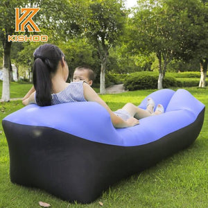 Lukowulf's Camping Haven black and sapphire 2019 Trend Outdoor Products Fast Infaltable Air Sofa Bed Good Quality Sleeping Bag Inflatable Air Bag Lazy bag Beach Sofa Laybag