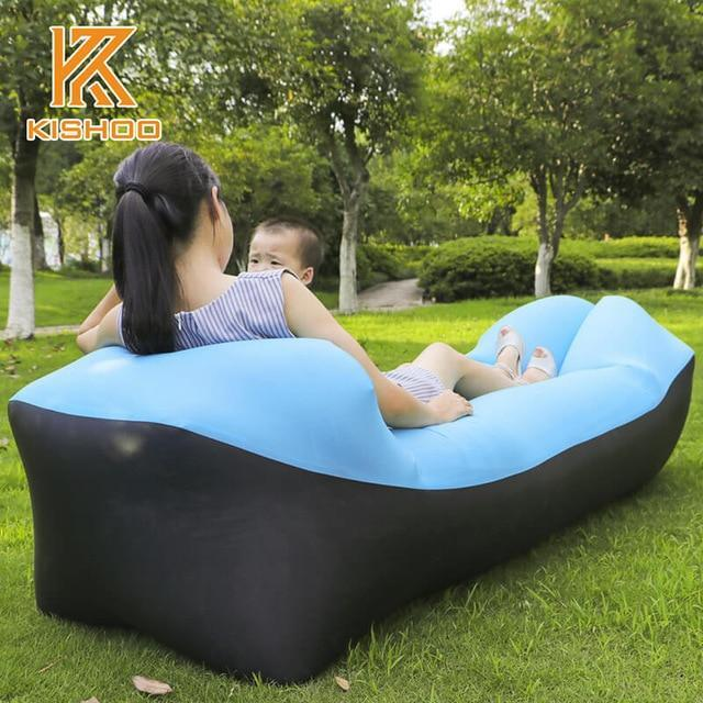 Lukowulf's Camping Haven black and skyblue 2019 Trend Outdoor Products Fast Infaltable Air Sofa Bed Good Quality Sleeping Bag Inflatable Air Bag Lazy bag Beach Sofa Laybag
