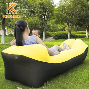 Lukowulf's Camping Haven black and yellow 2019 Trend Outdoor Products Fast Infaltable Air Sofa Bed Good Quality Sleeping Bag Inflatable Air Bag Lazy bag Beach Sofa Laybag
