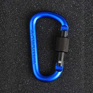 Lukowulf's Camping Haven Blue-Black 8cm Aluminum Alloy Spring Carabiner D-Ring Key Chain Clip Multi-color Camping Keyring Snap Hook Outdoor Travel Kit Quickdraws