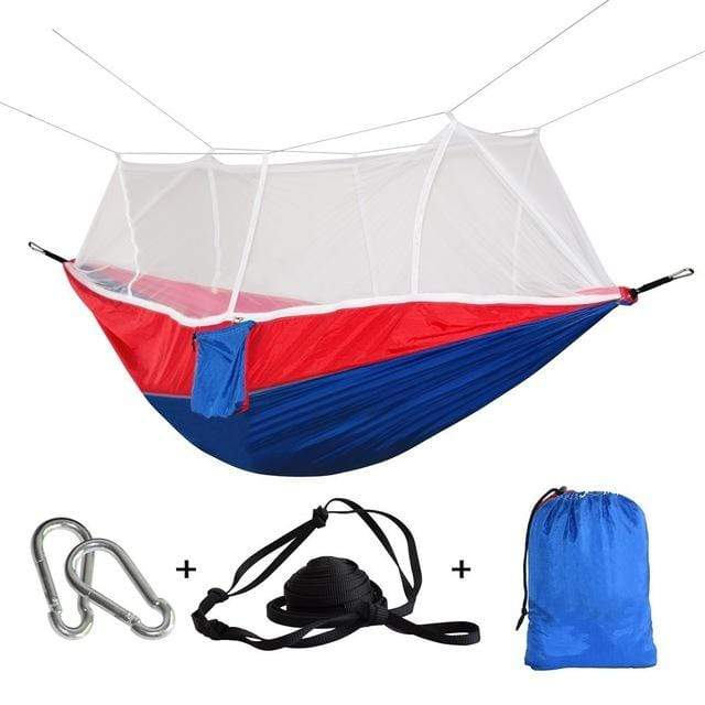 Lukowulf's Camping Haven blue red / China 1-2 Person Outdoor Mosquito Net Parachute Hammock Camping Hanging Sleeping Bed Swing Portable  Double  Chair Hamac Army Green