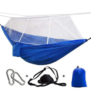 Lukowulf's Camping Haven blue white net / China 1-2 Person Outdoor Mosquito Net Parachute Hammock Camping Hanging Sleeping Bed Swing Portable  Double  Chair Hamac Army Green
