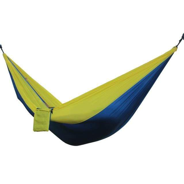 Lukowulf's Camping Haven Blue yellow Portable Hammock 2 Person Outdoor Camping Survival Hammock Garden Swing Hunting Hanging Sleeping Chair Travel Parachute Hammocks